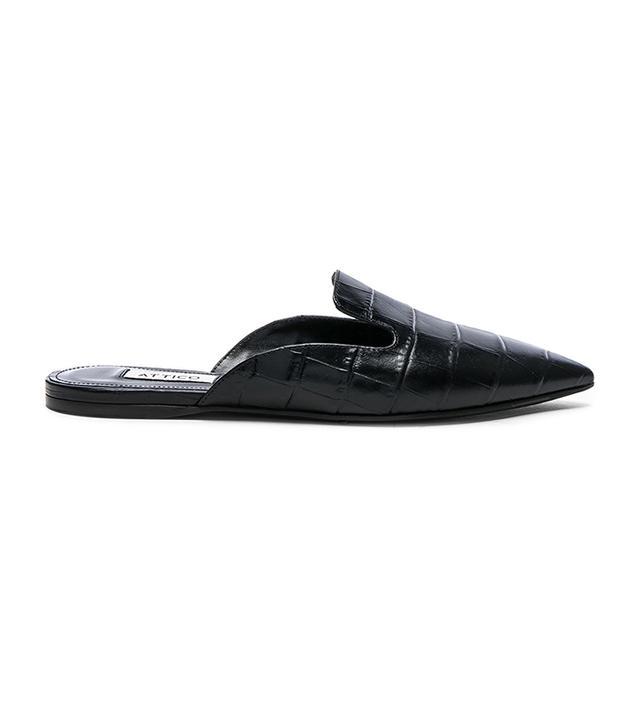 Attico Croc Embossed Tomaia Slide Flats in Black