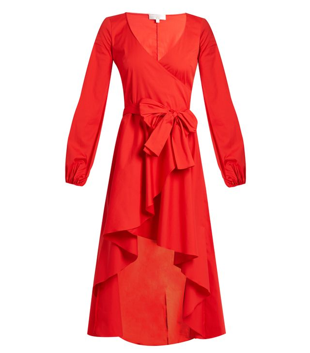 Caroline Costas Lena Asymmetric-Hem Cotton-Blend Wrap Dress