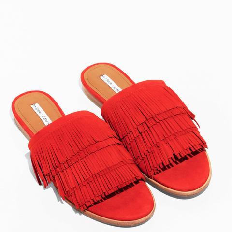 Fringe Slip-On Sandals