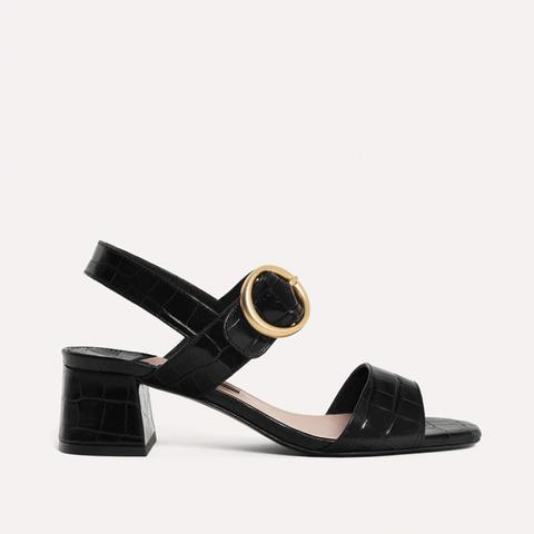Mock Croc Embossed Sandals