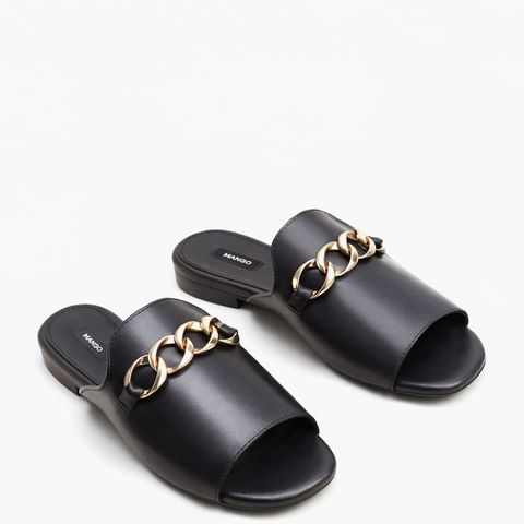 Links Chain Leather Sandals