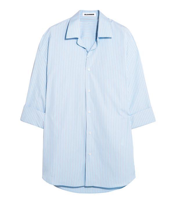 Kendall Jenner's Cannes Vacation Style: Jil Sander Oversized Striped Cotton Shirt