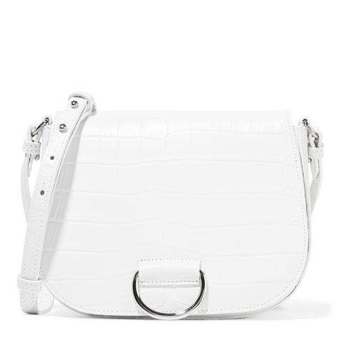 D Saddle Medium Croc-Effect Leather Shoulder Bag