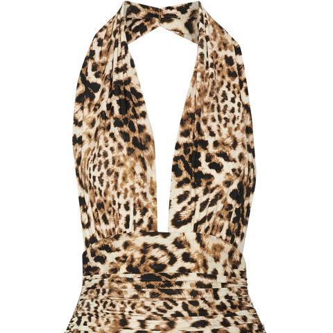 Bill Ruched Leopard-Print Halterneck Swimsuit