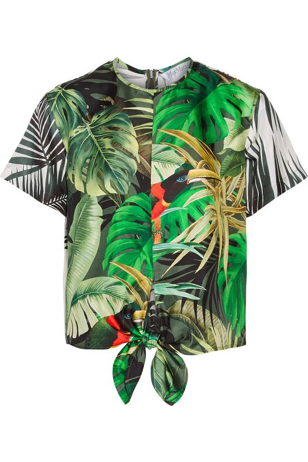 Kendall Jenner's Cannes Vacation Style: MaxMara Printed Silk Satin Top