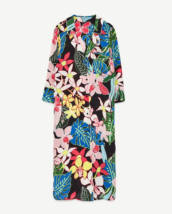 Kendall Jenner's Cannes Vacation Style: Zara Tropical Print Overshirt