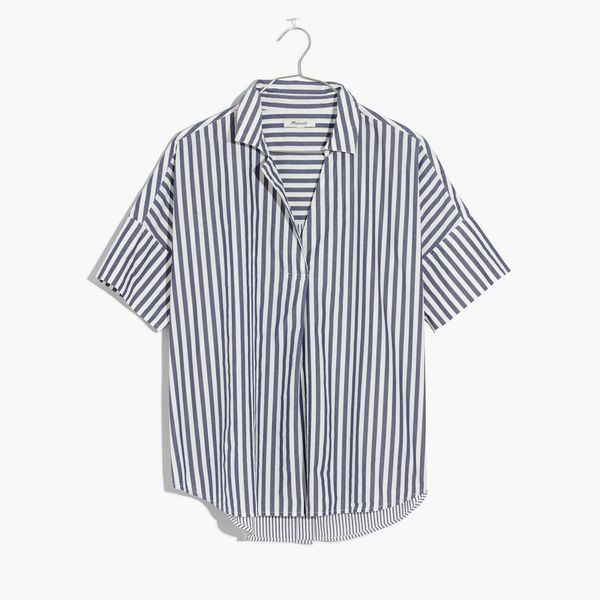 Kendall Jenner's Cannes Vacation Style:  Madewell Courier Shirt in Stripe Mix