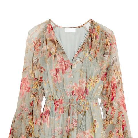 Mercer Floating Ruffled Floral-Print Silk-Chiffon Playsuit