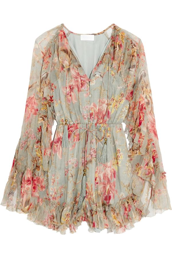 Kendall Jenner's Cannes Vacation Style: Zimmerman Mercer Floating Ruffled Floral-Print Silk-Chiffon Playsuit