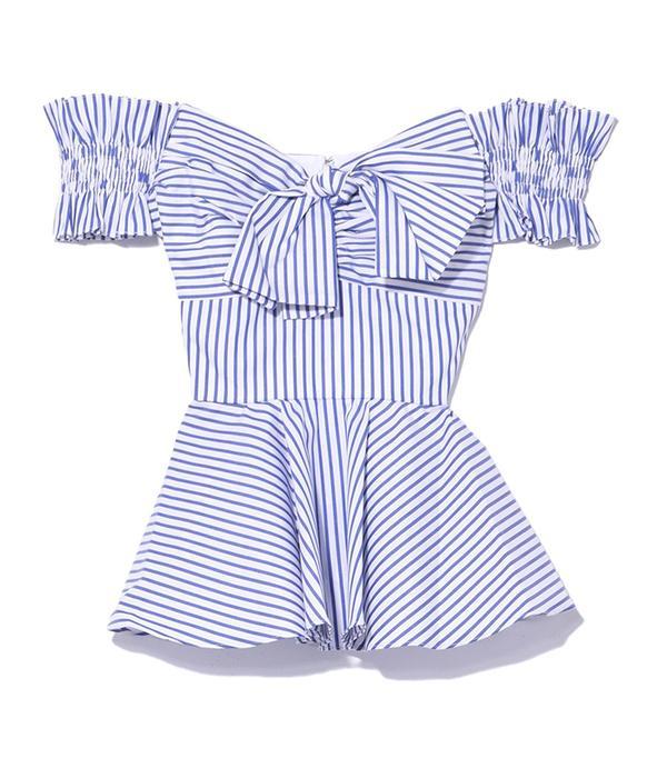 Caroline Constas Artemis Bustier Top in Royal Blue Stripe