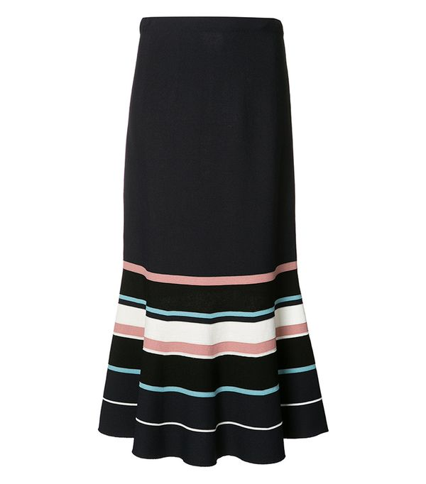 Grey Jason Wu Flared Striped Skirt