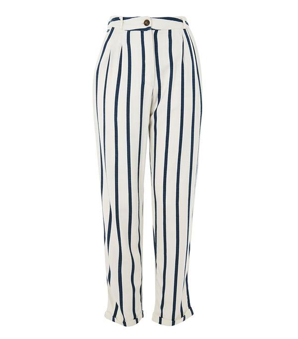Topshop Stripe Mensy Peg Leg Trousers