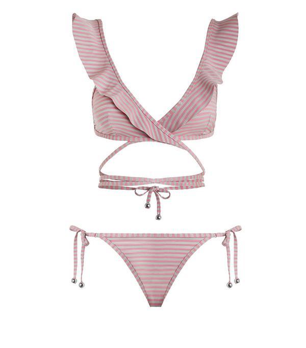 Zimmermann Caravan Stripe Wrap Bikini