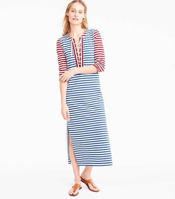 J.Crew Striped Lace-Up Dress