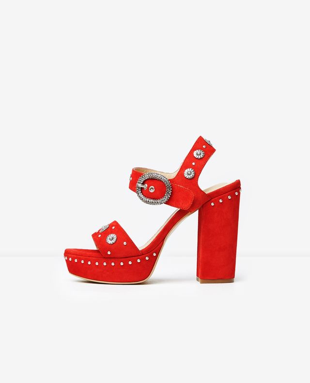 The Kooples Red Suede Platform Sandals