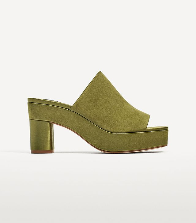 Zara High Heel Satin Mules