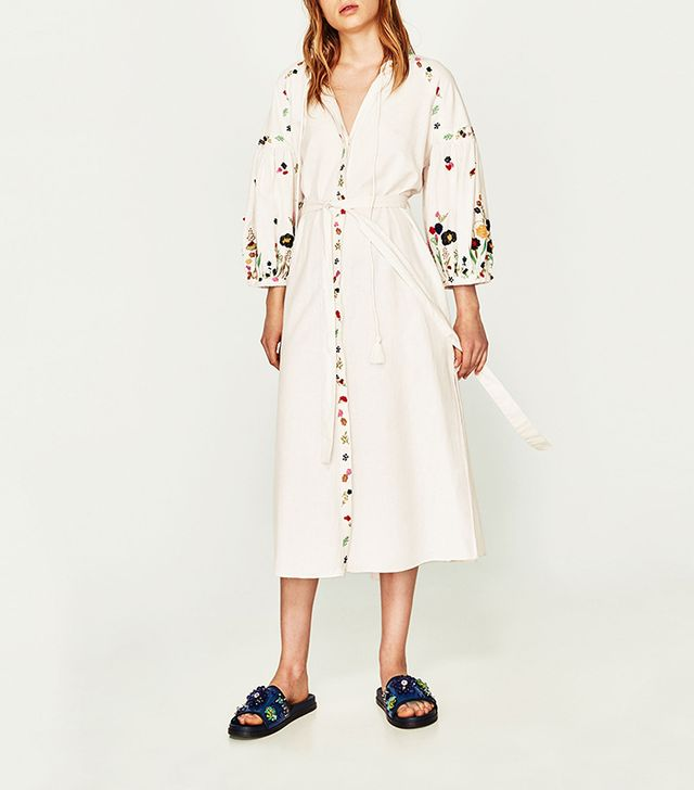 Zara Long Embroidered Tunic