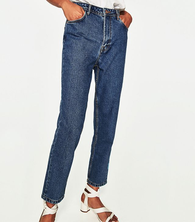 Zara High-Rise Mom Fit Jeans With Belt