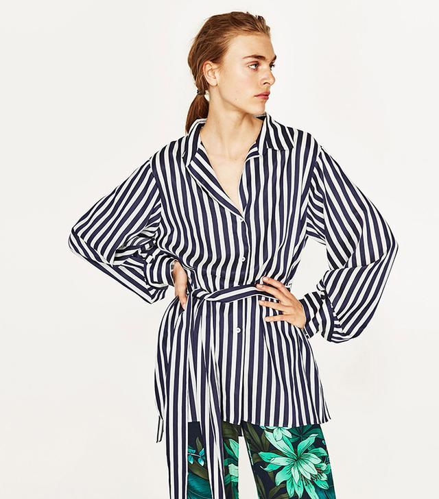 Zara Striped Tunic With Sash Belt
