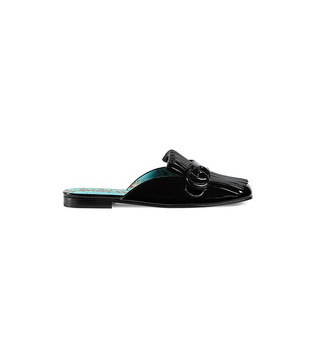 Gucci Marmont Patent Leather Slippers