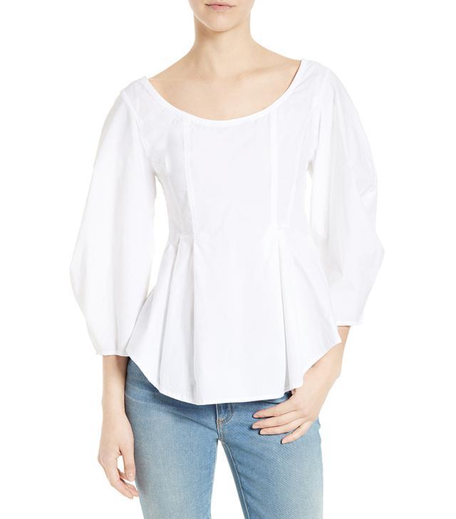 Sea Cotton Lantern Sleeve Blouse