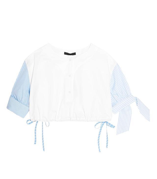 Alexander Wang Cropped Striped Cotton-Poplin Top