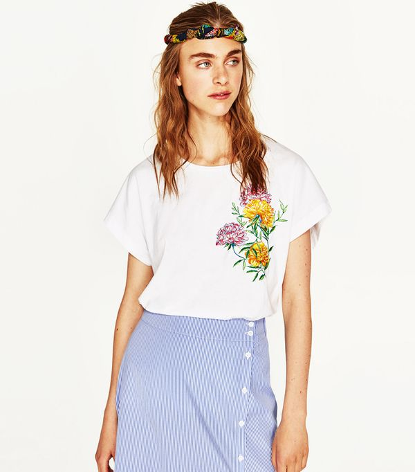 Best Embroidered T-Shirts: Zara Embroidered Short-Sleeve T-Shirt