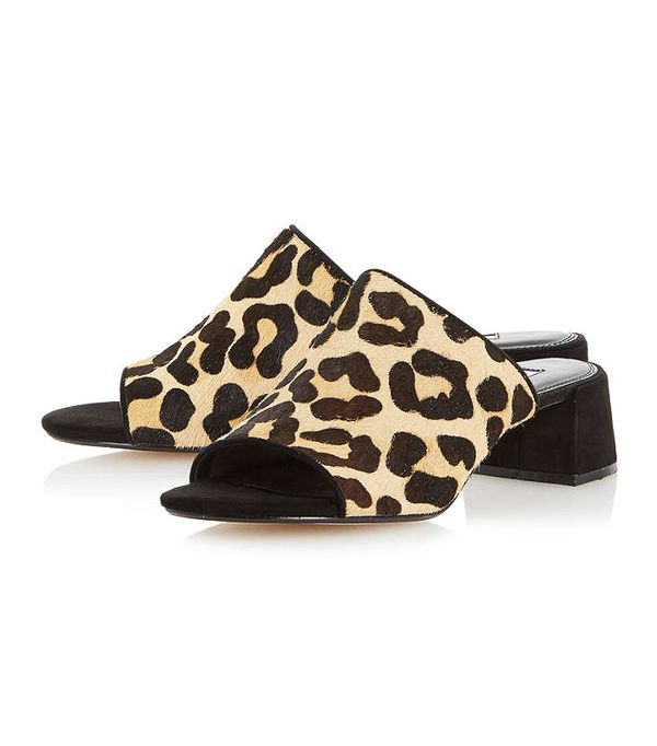 Heatwave Fashion: Dune Flare Heel Mule Sandal