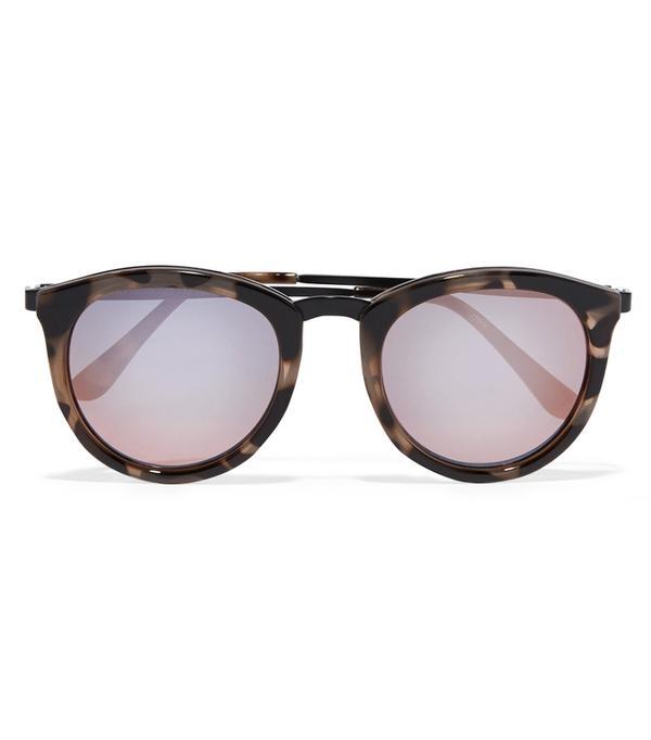 Heatwave Fashion: No Smirking Round-frame Acetate Mirrored Sunglases