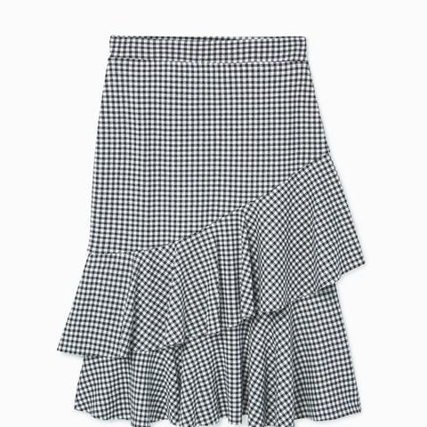 Check Pattern Ruffled Skirt