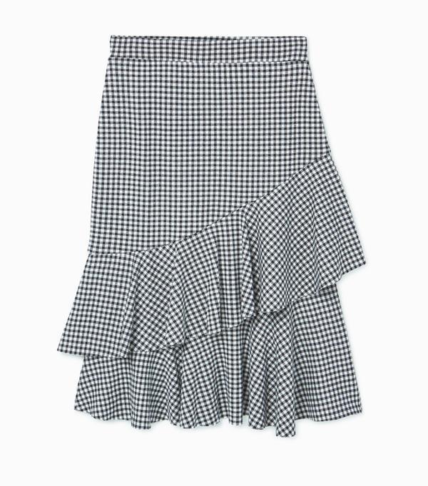 Heatwave Fashion: Mango Check pattern ruffled skirt