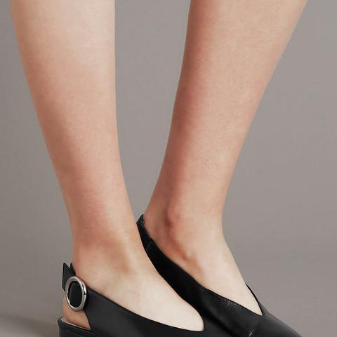 Leather Block Heel Slingback Flats