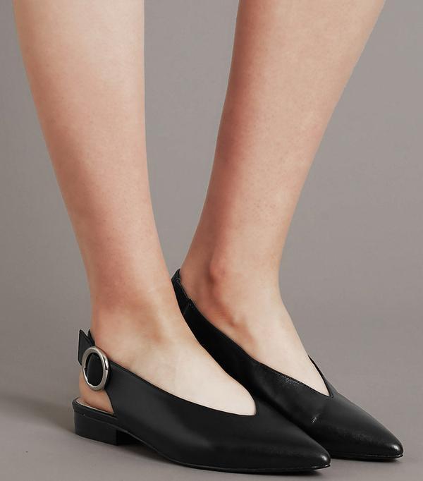 Heatwave Fashion: Marks & Spencer Leather Block Heel Slingback Flats