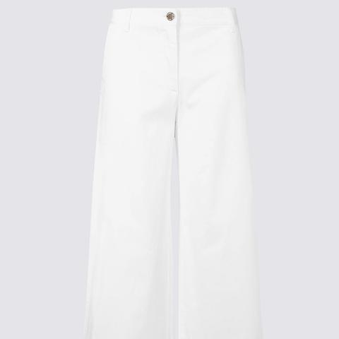 Cotton Rich Cropped Wide Leg Trousers