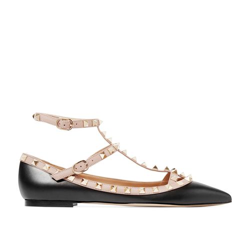 The Rockstud Leather Point-Toe Flats