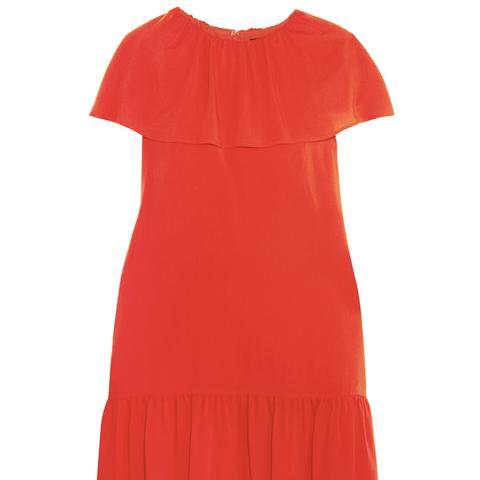 Delphes Ruffled Crepe de Chine Mini Dress
