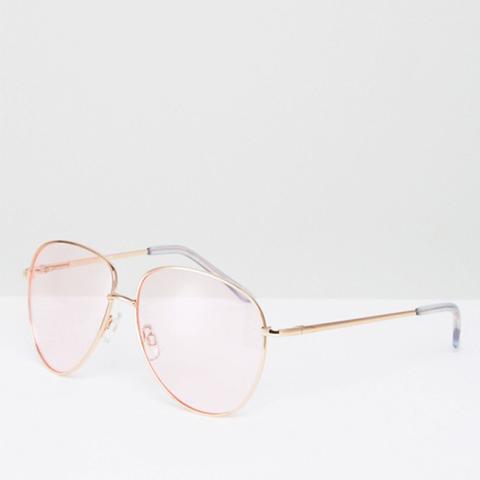 Metal Aviator Sunglasses in Rose Gold