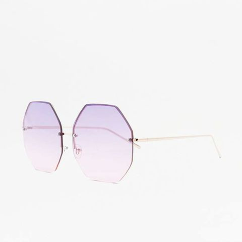 Oversized Hexagon Gradient Lens Sunglasses