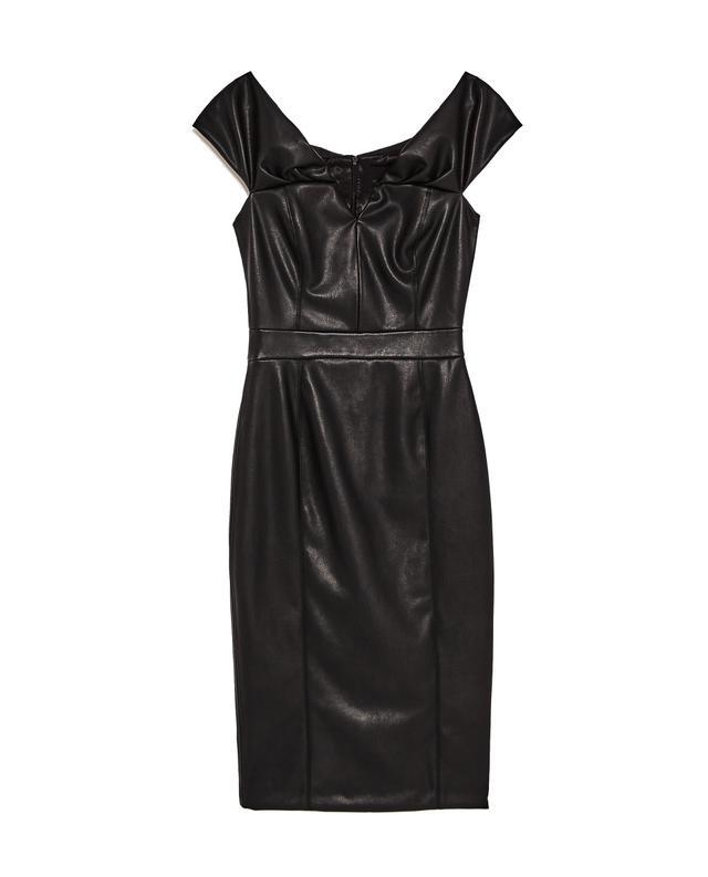Zara Off-the-Shoulder Faux Leather Dress