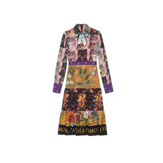 Patchwork print viscose dress