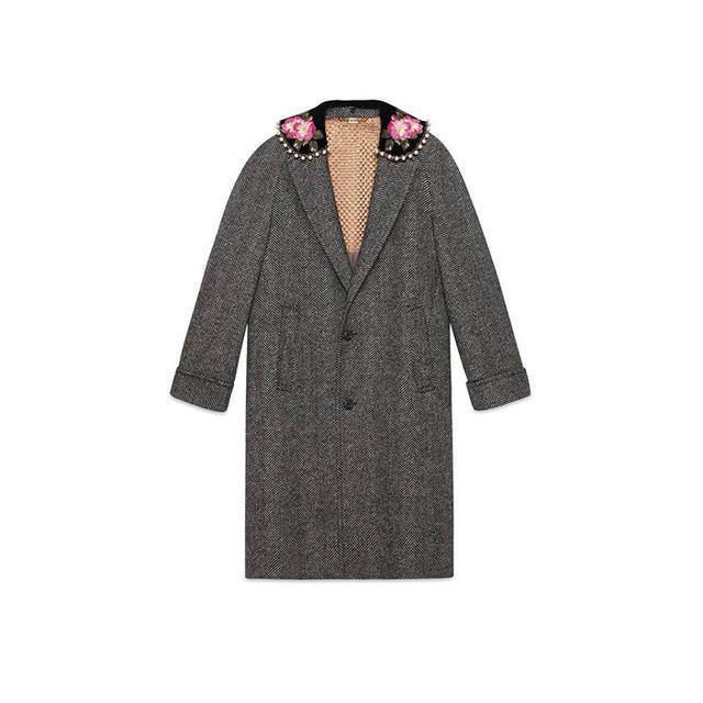 Herringbone coat with embroidery