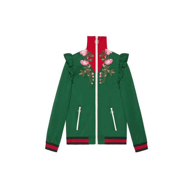 Embroidered technical jersey jacket