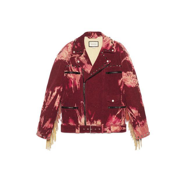Bleached tie-dye corduroy jacket