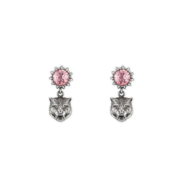 Crystal stud earrings with feline head