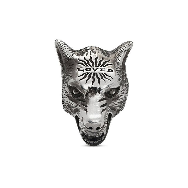 Anger Forest wolf head ring in silver