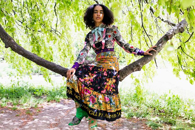 Here, Lu opted for Gucci's patchwork dress and dragon-emblazoned satin boots from the brand's pre-fall collection. The look might seem overwhelming at first, but notice her lack of...
