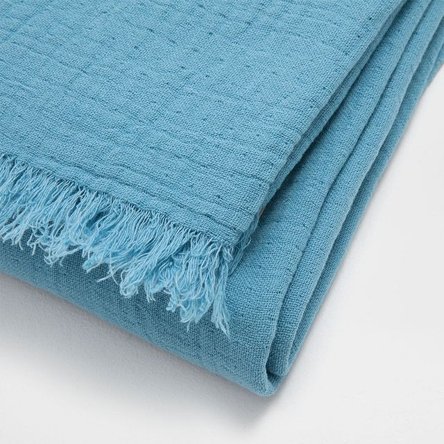 Zara Home Faded Cotton Blanket With Fringe