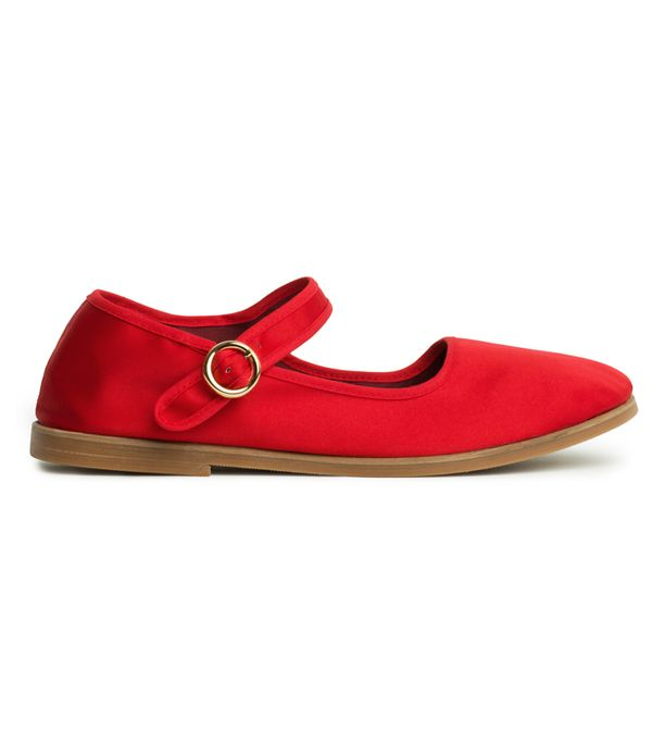 Alexa Chung fashion brand: Red mary jane ballet pumps