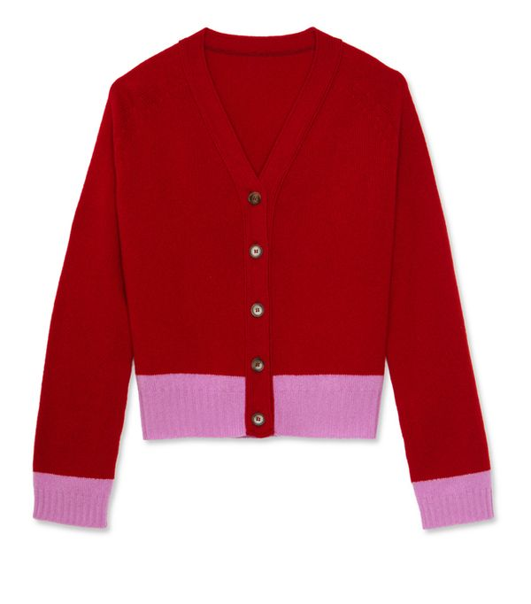 Alexa Chung fashion brand: Pink and red cardigan