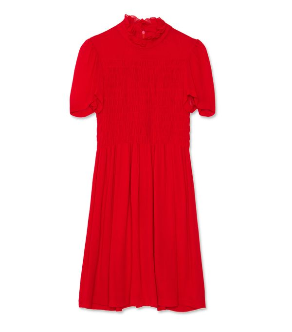 Alexa Chung fashion brand: Red smock dress